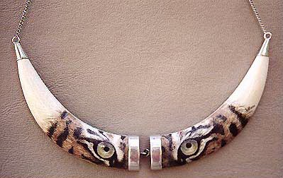 Tiger eyes on necklace